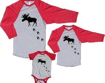Moose Tracks Matching Baseball Jersey Family Shirts - Great Family Gift Idea for Birthday, Vacations, Holidays  (302)