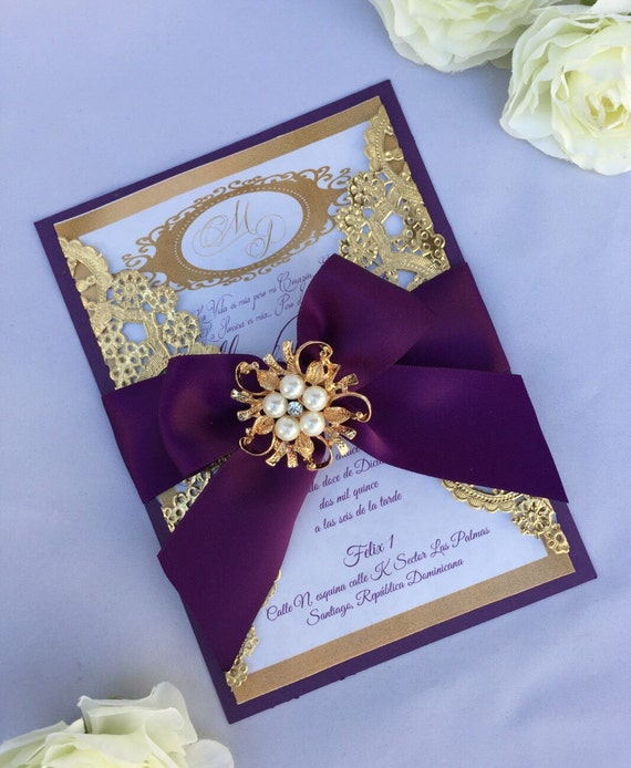Gold And Purple Wedding Invitations: Gold And Purple Wedding Invitation Wedding By Oohlalaxevents