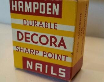 Vintage HAMPDEN Durable Decor Sharp Point Nails Decorative Original box and nails made in USA