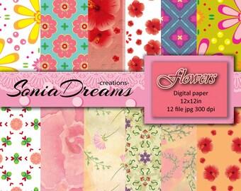 Flower digital paper