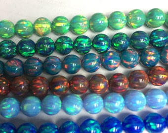 6MM round beads synthetic opal (66 beads)