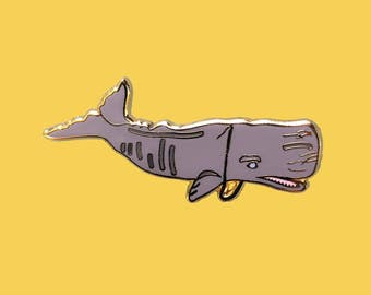 """Sperm Whale w/ Gold Chain Enamel Lapel Pin 1 1/2"""""""