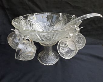 Thatcher/McKee Punch Bowl with Stand,  cups , ladle ,Yorktown Pattern Pressed Glass Pattern Glass