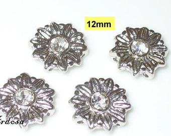 4 connector flower rhinestone 4 hole, 2 rows (K131. 12)