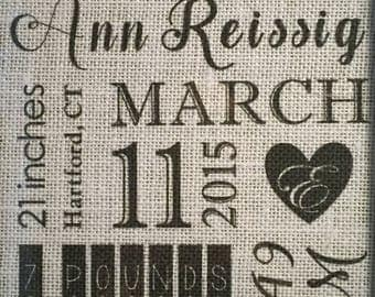 Birth Announcement Burlap Print – Personalized Birth Announcement – Customized Birth Announcement - Birth Stats Burlap Print