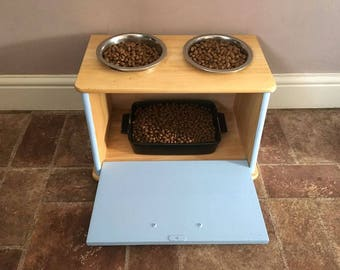 Dog Bowl Stand With Storage
