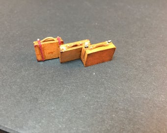 Miniature micro 1/48th scale quarter scale rustic suitcases x3