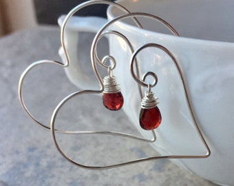 Garnet Heart Earrings, Red Heart Hoop Earrings, Silver and Red Garnet Earrings, Garnet Valentine Earrings, Valentine Gift from Boyfriend
