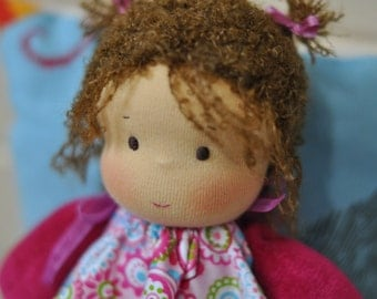 """Textile Waldorf doll baby Toffee 7,87"""" (20 cm) MADE TO ORDER  bambola waldorf, waldorf puppe, textile doll, Christmas gift"""
