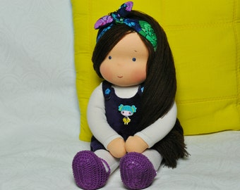 Textile Waldorf doll for kids 14,17 inch (36 cm) MADE TO ORDER