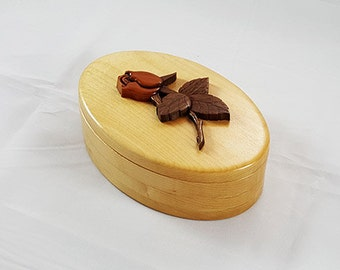 Wooden Treasure Box, Accessory Box, Memory Box, Jewelry Box, Desktop Box, Ladies Box, Trinket Box, Decorative Box with Intarsia Rosbud