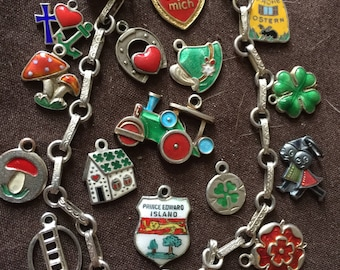 18 Vintage Charm Bracelet German Enameled Charms