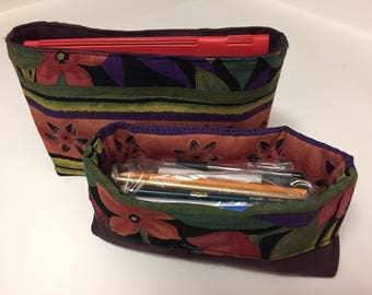 Long Mini Fabric Basket - Reversible with Tropical Print and Eggplant Solid Canvas