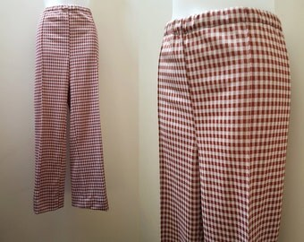 1970s Pants / Wide Leg Handmade 70s Gingham Pants
