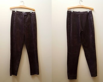 Vintage Leather Pants / 90s High Waisted Leather Trousers