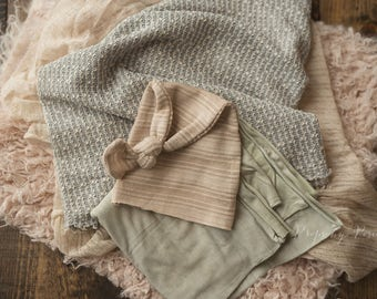 Newborn Photography Prop - Newborn Layer Bundle, Tan and Sage