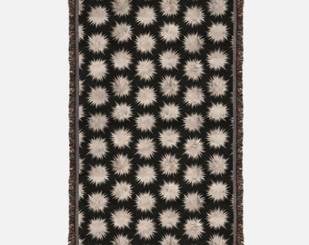 Black and Rose Gold Woven Blanket, Black Woven Throw with Gold Starbursts