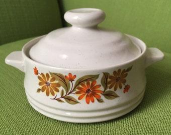 Vintage 70s Small Capri Bake Serve Store Stoneware Casserole Dish with Orange Yellow Flower Design