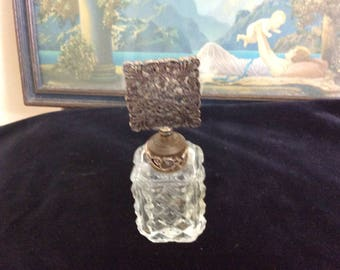 For Kim Vintage  Irice, NY Perfume Bottle,  Lots of Filigree Unusual Square Glass Dauber, Marked on Bottom