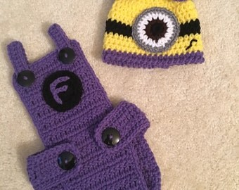 Purple Baby Minion Diaper Cover Set with Overalls