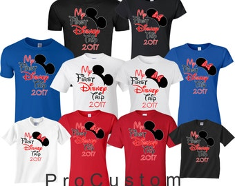 My First Disney Trip Family VACATION 2017 Mickey and Minnie funny cute Customized T-Shirts