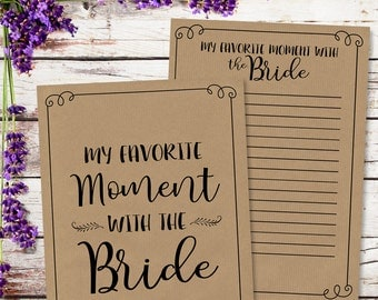 Favorite moment with the Bride Bridal Shower Game - INSTANT DOWNLOAD - Printable Wedding Baby Shower Party Games, by Sassaby Weddings