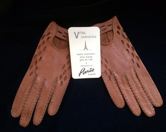 Vintage Tan leather driving gloves size 7.5 circa 1950s
