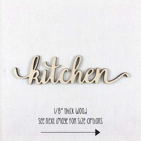 Kitchen Decor Words: Items Similar To Custom Lowercase Wood Word, Kitchen Wood