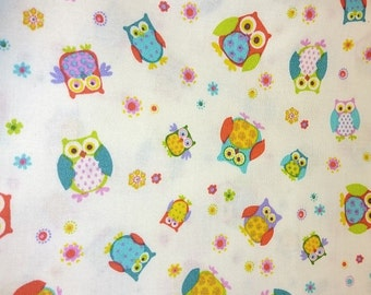 "Blank Quilting     ""Hoo-Ray""  Owls on White     Remnant"