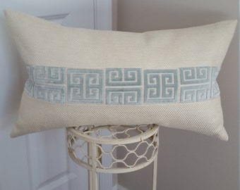 Cream/ Blue Greek Key Pillow