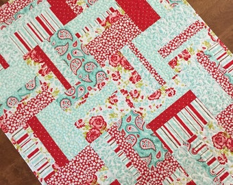 Floral Baby Quilt, Baby Girl, Aqua Blue and Red White, Flowers, Nursery Bedding, Toddler Blanket, Baby Blanket, Roses, Paisley, Stripes