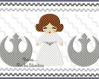 Star Wars Princess Leia Faux Smocking Digital Embroidery Machine Design File 4x4 5x7 6x10