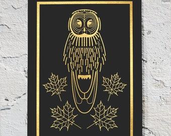 Great Grey Owl, owl art, owl print, owl artwork, owl art print, gold foil art, gold foil printing, custom gold foil art, gold foil art print