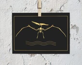 Pterodactyl art, jurassic art, dino artwork, dino art print, dino lover art, gold foil artwork, gold foil art, gold foil print,gold,dinosaur