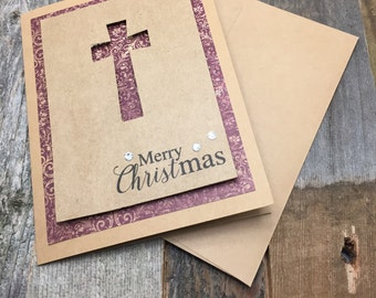 Merry Christmas Cards, Christmas Cards, Cross Cards, Religious Cards, Cross Cards, Christian Cards, Set of Cards, Set of Five Cards, 5 Cards