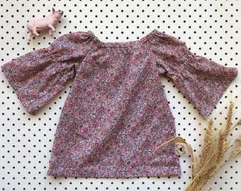 Baby Girl Cotton Dress Gathered Sleeve Neckline ~ Mini Rose