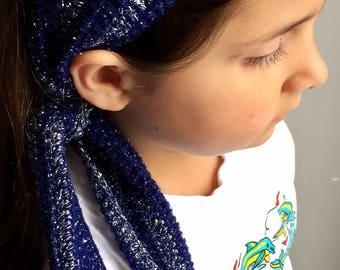 Knot headband, head scarf, glitter stary night, crochet baby headband, mommy and me
