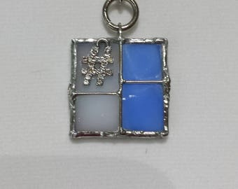 Blue and white stained glass pendant with hashtag insert