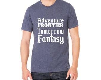 Disney Shirts Mens Disney Lands Shirt Adventure Frontier Tomorrow Fantasy Land Disneyland Shirt Disney World Shirt Magic Kingdom Shirt
