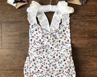 Red White and Blue Romper