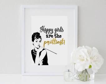 Happy Girls Are The Prettiest,Girls Room Makeup Vanity Gallery Wall Art,Breakfast at Tiffany,Black and gold, prettiest happy girls birthday