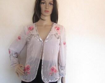 Vintage 80s blouse sequins & flowers S