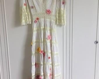 Summer Flower Maxi Dress Hippie Gown
