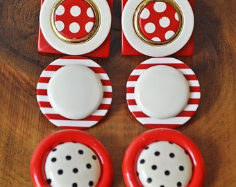 Vintage Earrings, Red And White Earrings, Stripes And Polka Dot Jewelry