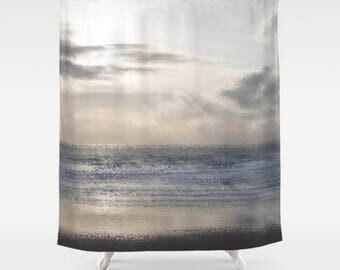 Beach Shower Curtain, Ocean Shower Curtain, Silver Grey Bathroom Decor, Beach Bathroom, White Bath Set, Beach Bath Mat, Monochromatic Shower