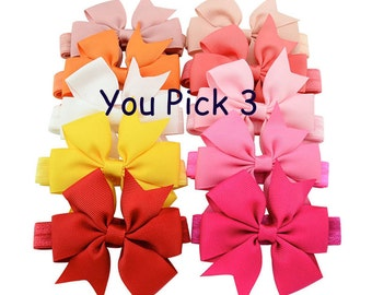 Baby Headband,Hair Bow,Headband,SET OF 3,Pink,Blue,Black,Beige,Yellow,Orange,Headband for babysPurple,Blue,Pink,Yellow,Red,Beige