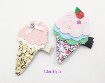 Ice Cream Clips,Ice Cream Hair Bow,Ice Cream Bow,Hair Bow,Ice Cream,Party Favor,Summer Bow