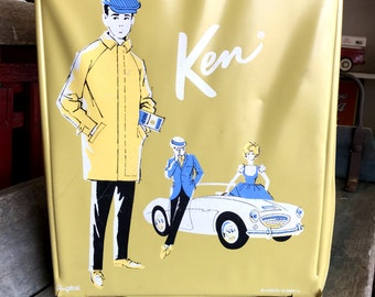 Ken Doll Case by Ponytail |  Retro Ken Doll Case with Accessory Boxes |  1962 Barbie Doll Case with Ken on Front