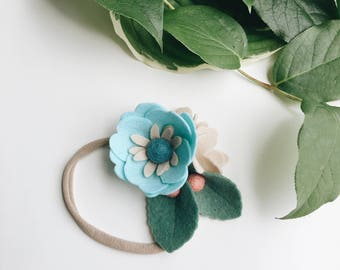 Single flower headband // felt flower crown // felt floral headband // blue felt floral.