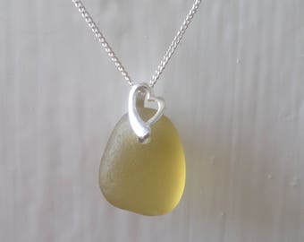 Dainty Warm Lemon Sea Glass Sterling Silver Necklace Pendant, Seaglass, Beach Glass, Beach Jewelry, Sea Glass Pendant, Seaham